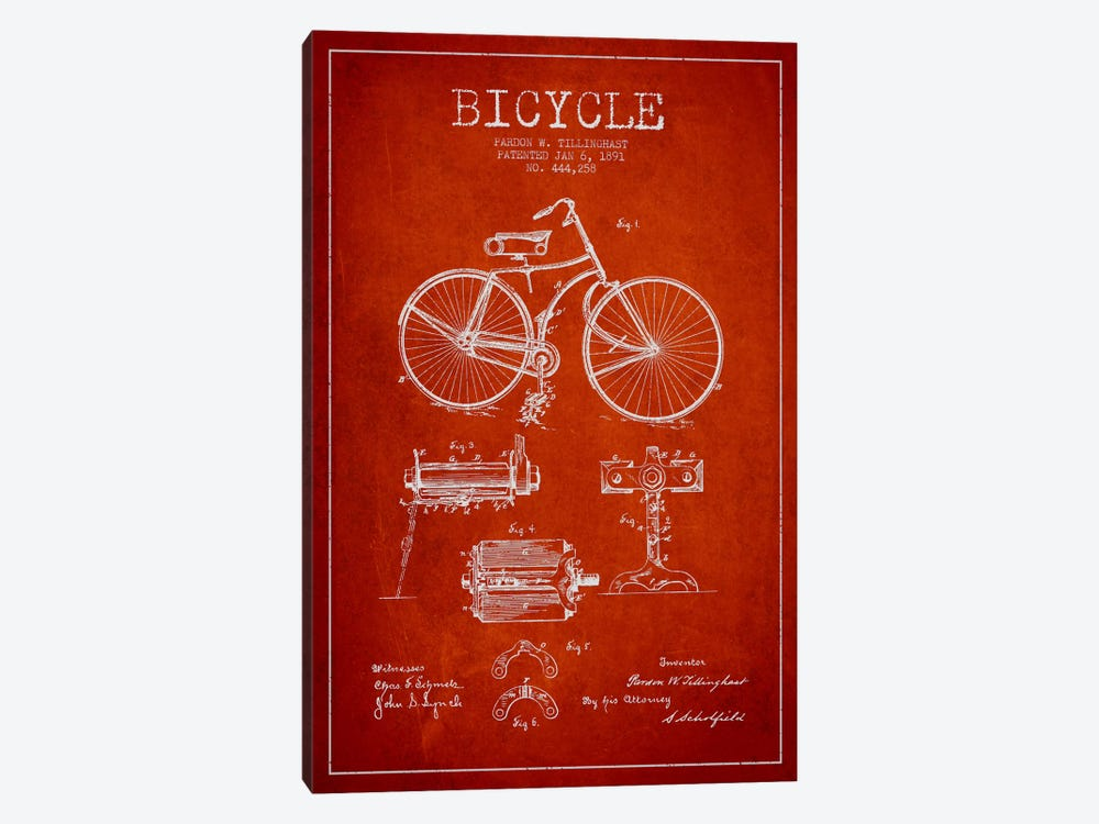 Bike Red Patent Blueprint by Aged Pixel 1-piece Canvas Art