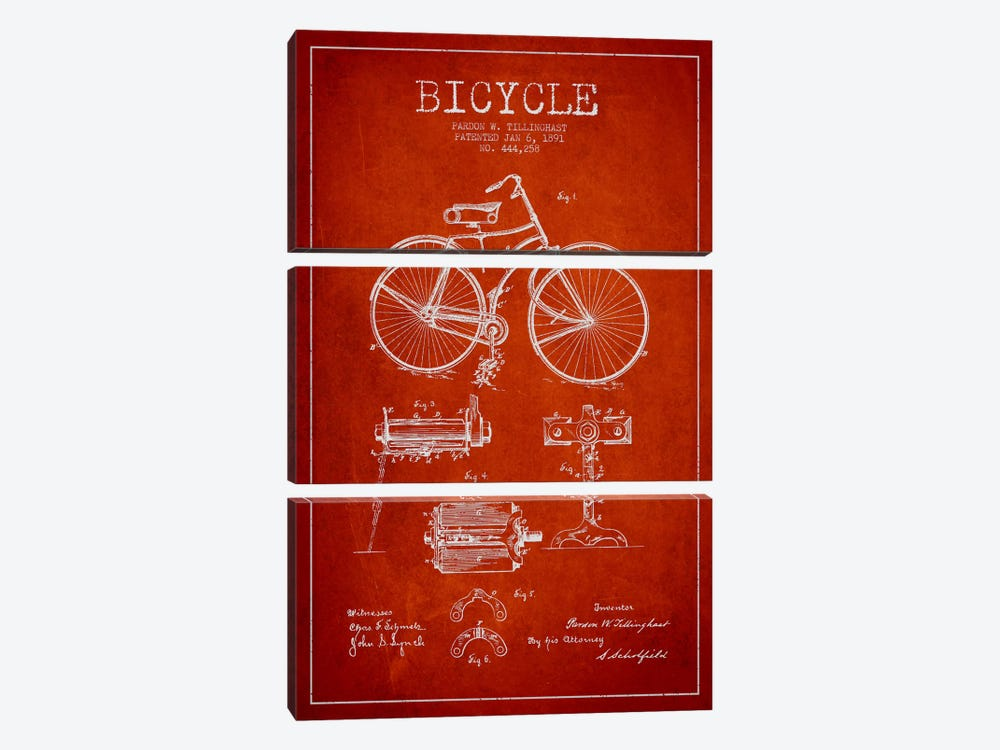 Bike Red Patent Blueprint by Aged Pixel 3-piece Canvas Wall Art