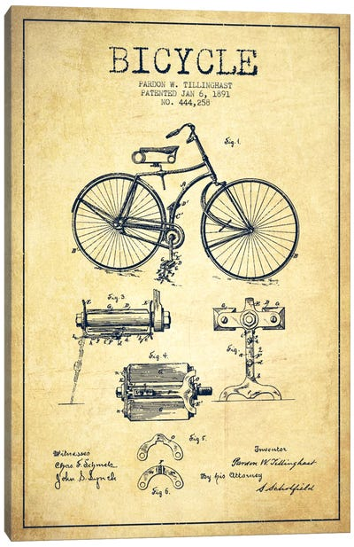 Bike Vintage Patent Blueprint Canvas Art Print