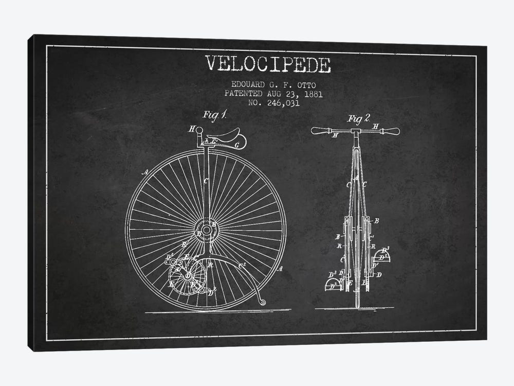 Otto Velocipede Charcoal Patent Blueprint by Aged Pixel 1-piece Canvas Wall Art