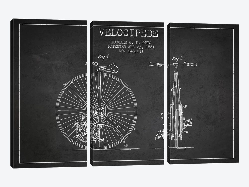 Otto Velocipede Charcoal Patent Blueprint by Aged Pixel 3-piece Canvas Art