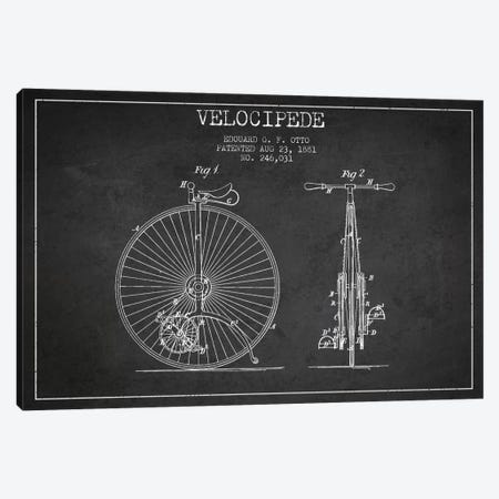 Otto Velocipede Charcoal Patent Blueprint Canvas Print #ADP2555} by Aged Pixel Art Print