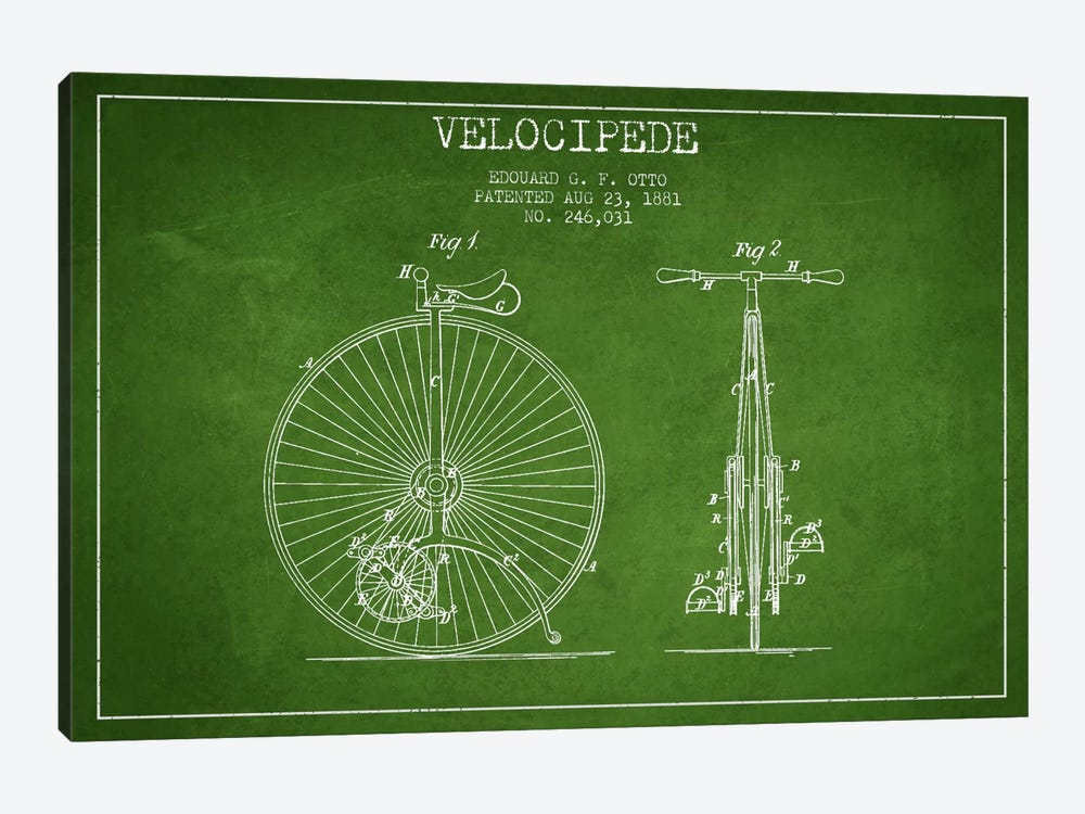 Otto Velocipede Green Patent Blueprint by Aged Pixel 1-piece Canvas Art Print