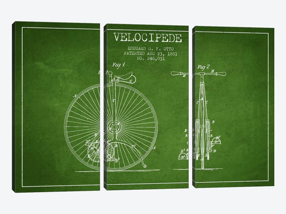 Otto Velocipede Green Patent Blueprint by Aged Pixel 3-piece Art Print