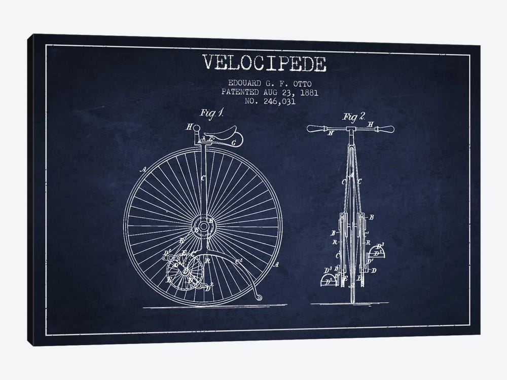 Otto Velocipede Navy Blue Patent Blueprint by Aged Pixel 1-piece Canvas Wall Art