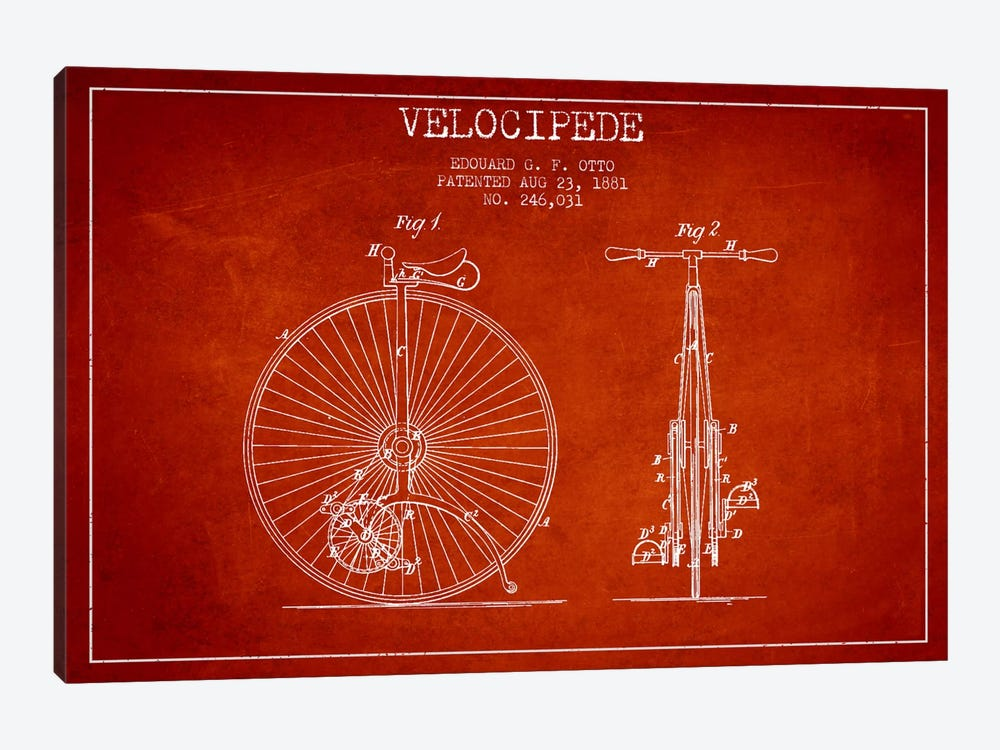 Otto Velocipede Red Patent Blueprint by Aged Pixel 1-piece Canvas Art Print