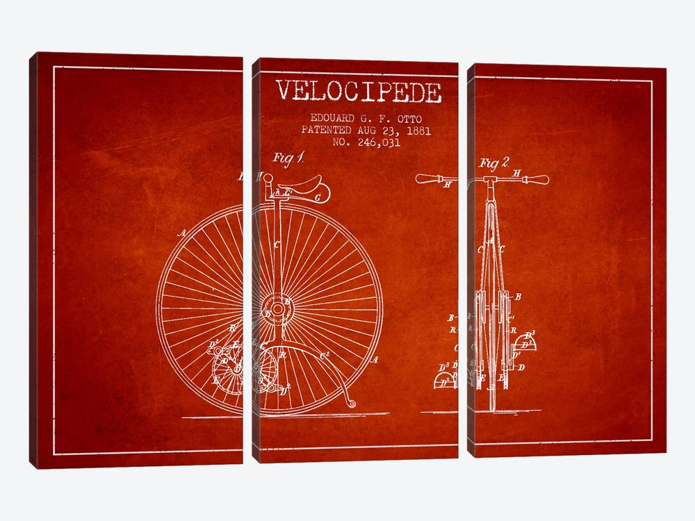 Otto Velocipede Red Patent Blueprint by Aged Pixel 3-piece Canvas Print