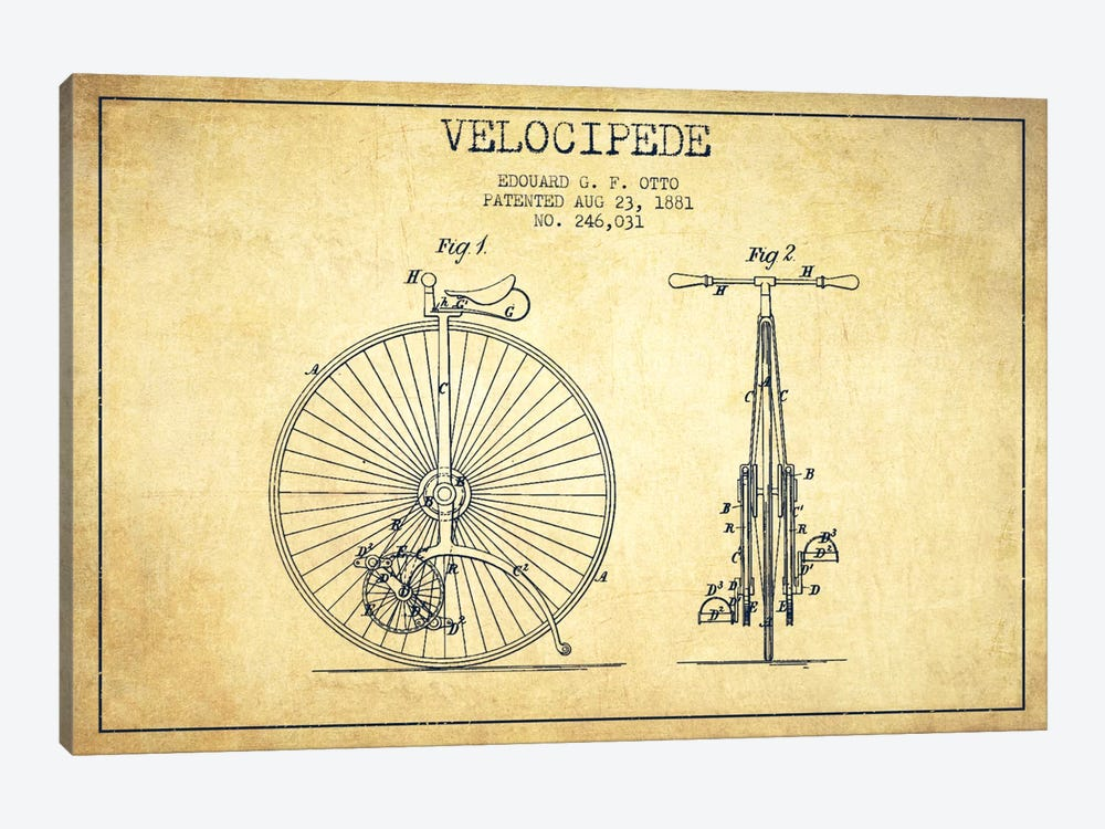 Otto Velocipede Vintage Patent Blueprint by Aged Pixel 1-piece Canvas Art