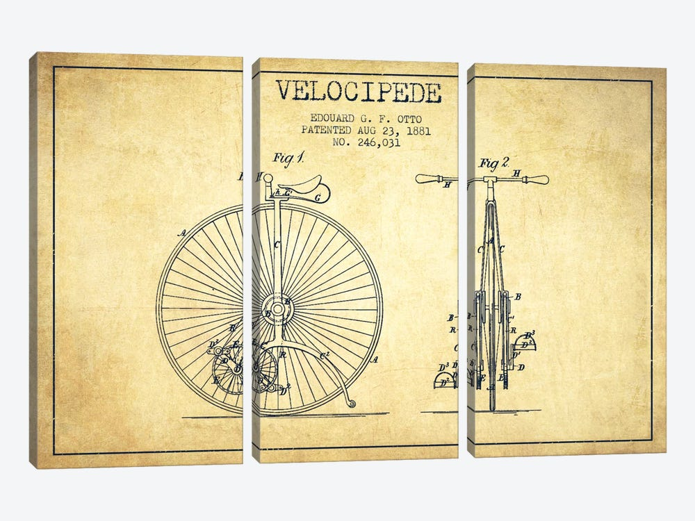 Otto Velocipede Vintage Patent Blueprint by Aged Pixel 3-piece Canvas Wall Art
