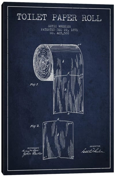 Toilet Paper Navy Blue Patent Blueprint Canvas Art Print