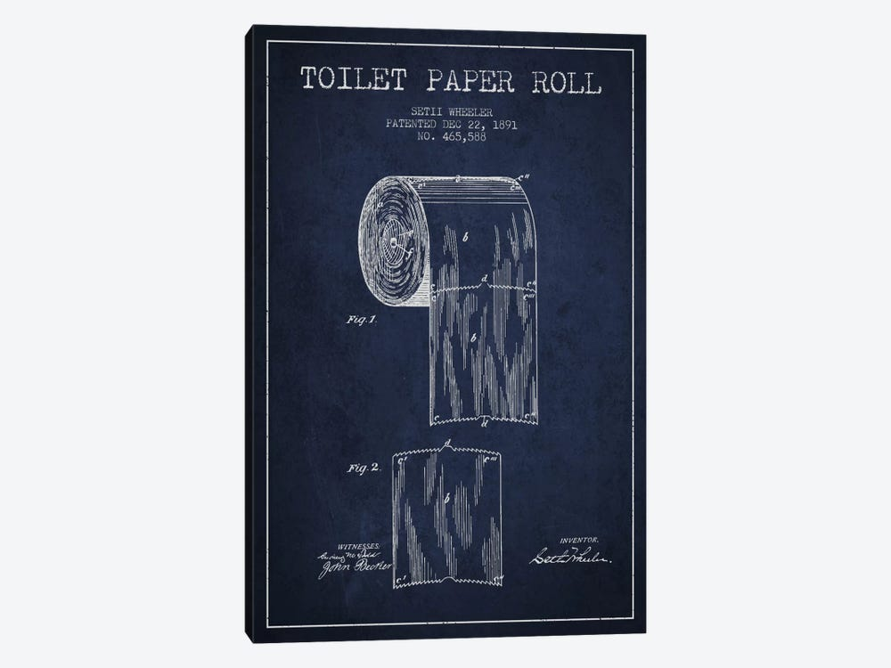 Toilet Paper Navy Blue Patent Blueprint by Aged Pixel 1-piece Canvas Artwork