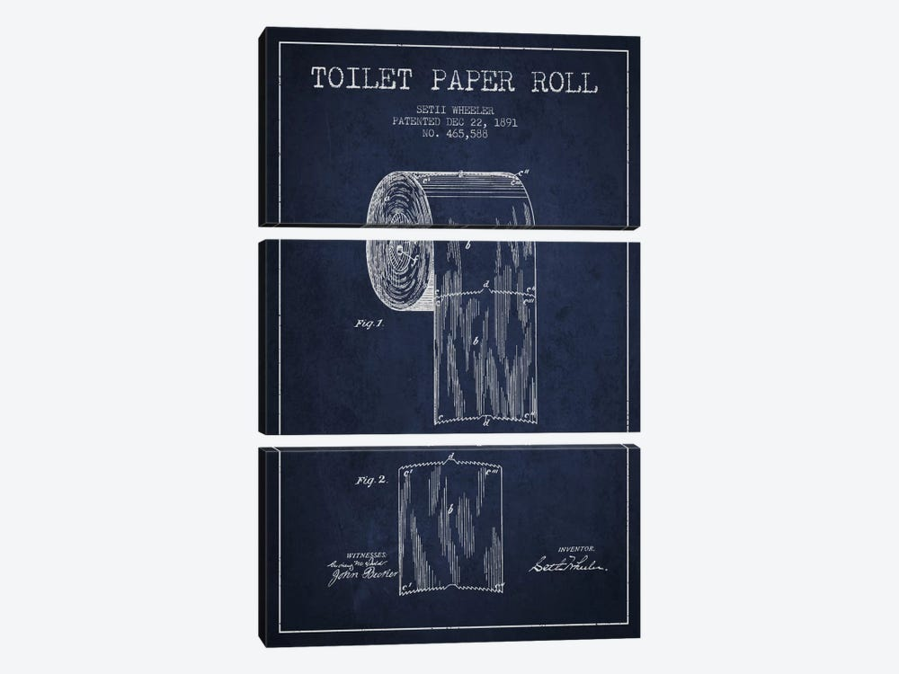 Toilet Paper Navy Blue Patent Blueprint by Aged Pixel 3-piece Canvas Art