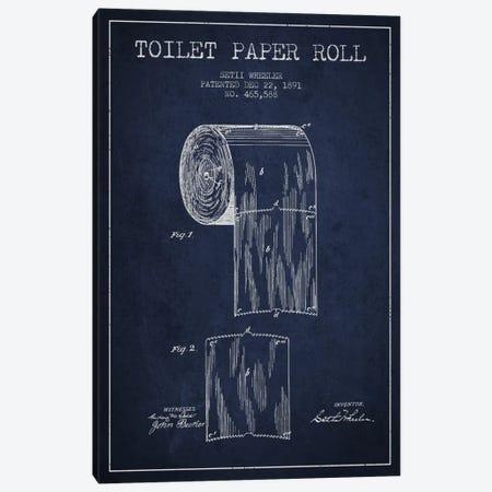 Toilet Paper Navy Blue Patent Blueprint Canvas Print #ADP255} by Aged Pixel Art Print