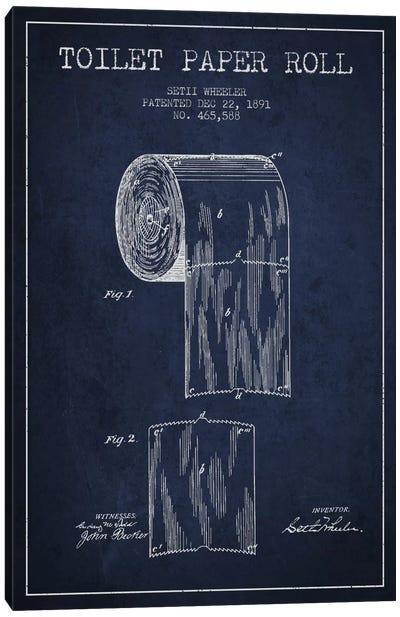 Toilet Paper Navy Blue Patent Blueprint Canvas Art Print