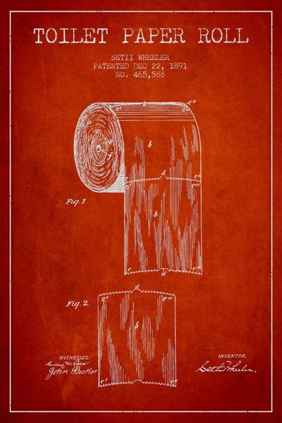 Toilet paper red patent blueprint canvas artwork by aged pixel icanvas canvas malvernweather Images