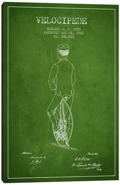 Otto Bike Riding Green Patent Blueprint Canvas Art Print