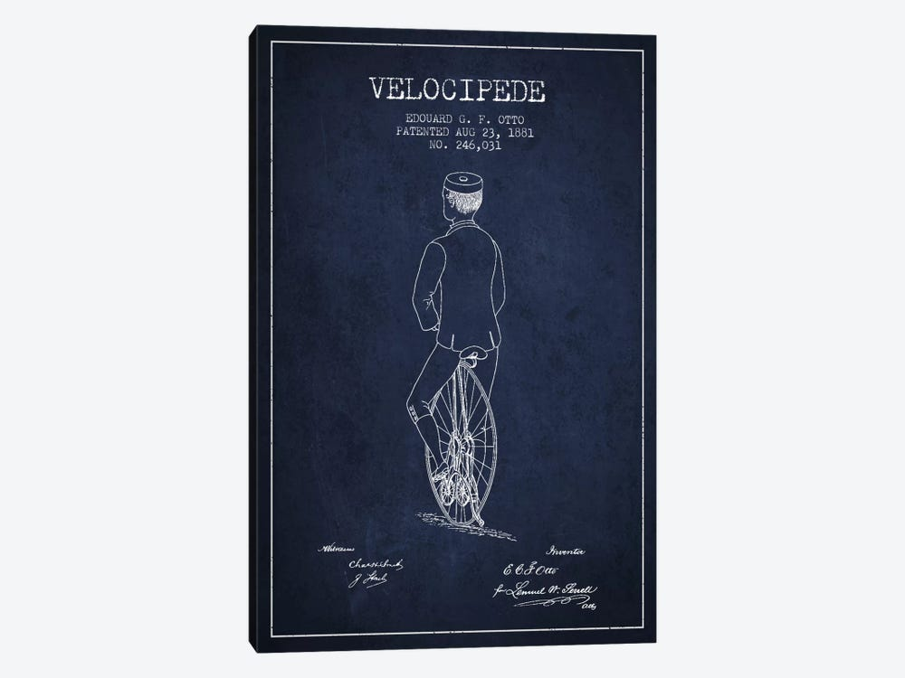 Otto Bike Navy Blue Patent Blueprint by Aged Pixel 1-piece Art Print