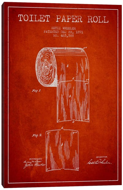 Toilet Paper Red Patent Blueprint Canvas Art Print