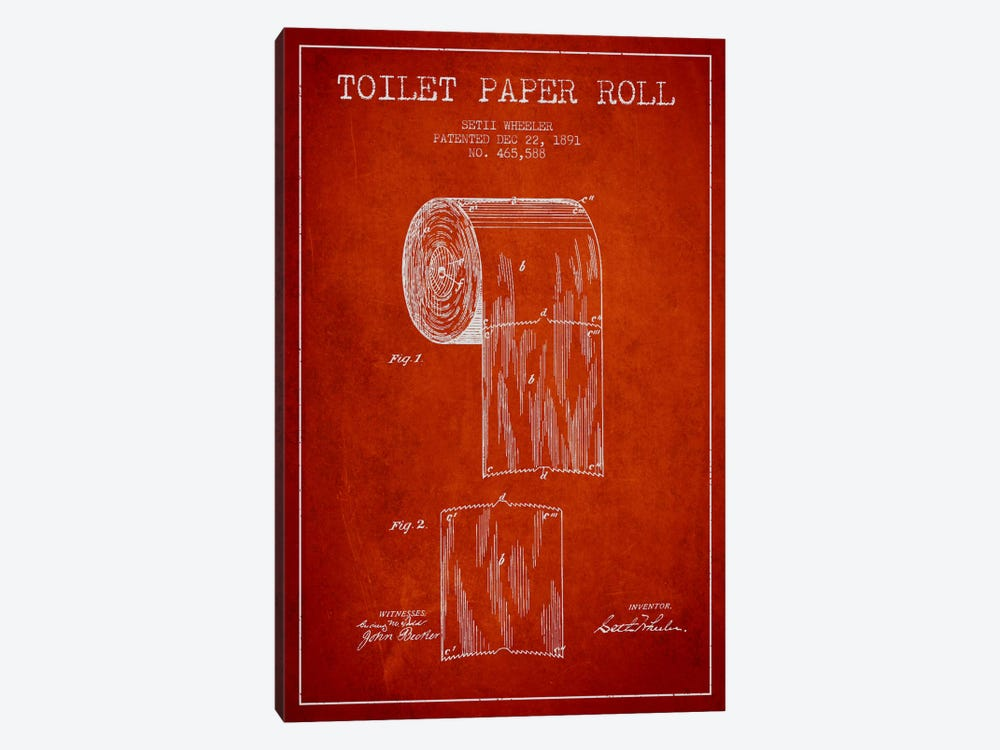 Toilet Paper Red Patent Blueprint by Aged Pixel 1-piece Canvas Print