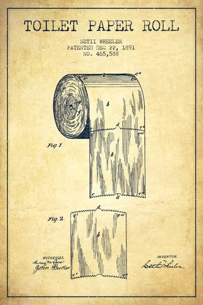 Toilet paper vintage patent blueprint canvas art aged pixel canvas malvernweather Image collections