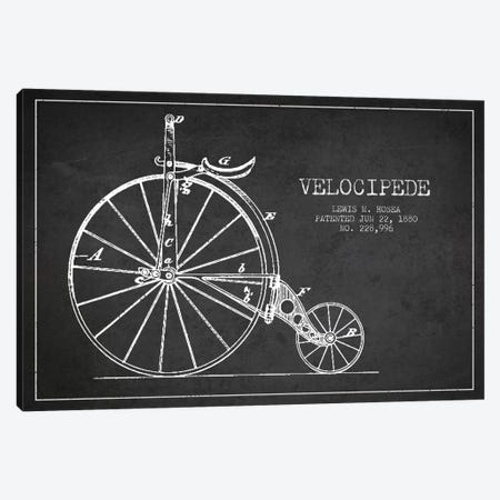 Hosea Velocipede Charcoal Patent Blueprint Canvas Print #ADP2570} by Aged Pixel Canvas Wall Art