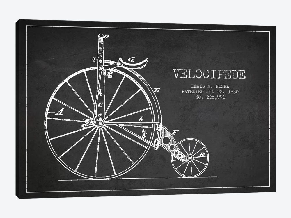 Hosea Velocipede Charcoal Patent Blueprint by Aged Pixel 1-piece Art Print