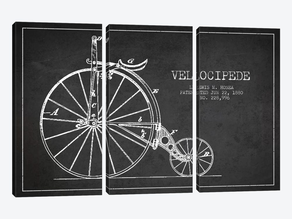 Hosea Velocipede Charcoal Patent Blueprint by Aged Pixel 3-piece Art Print