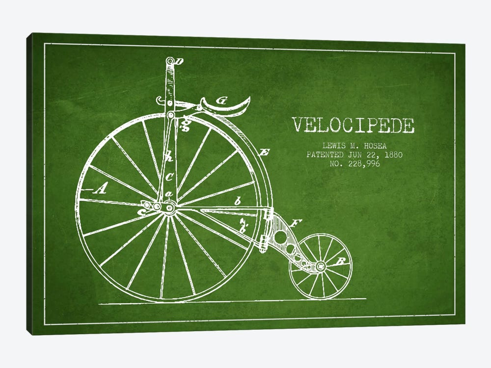 Hosea Velocipede Green Patent Blueprint by Aged Pixel 1-piece Canvas Art