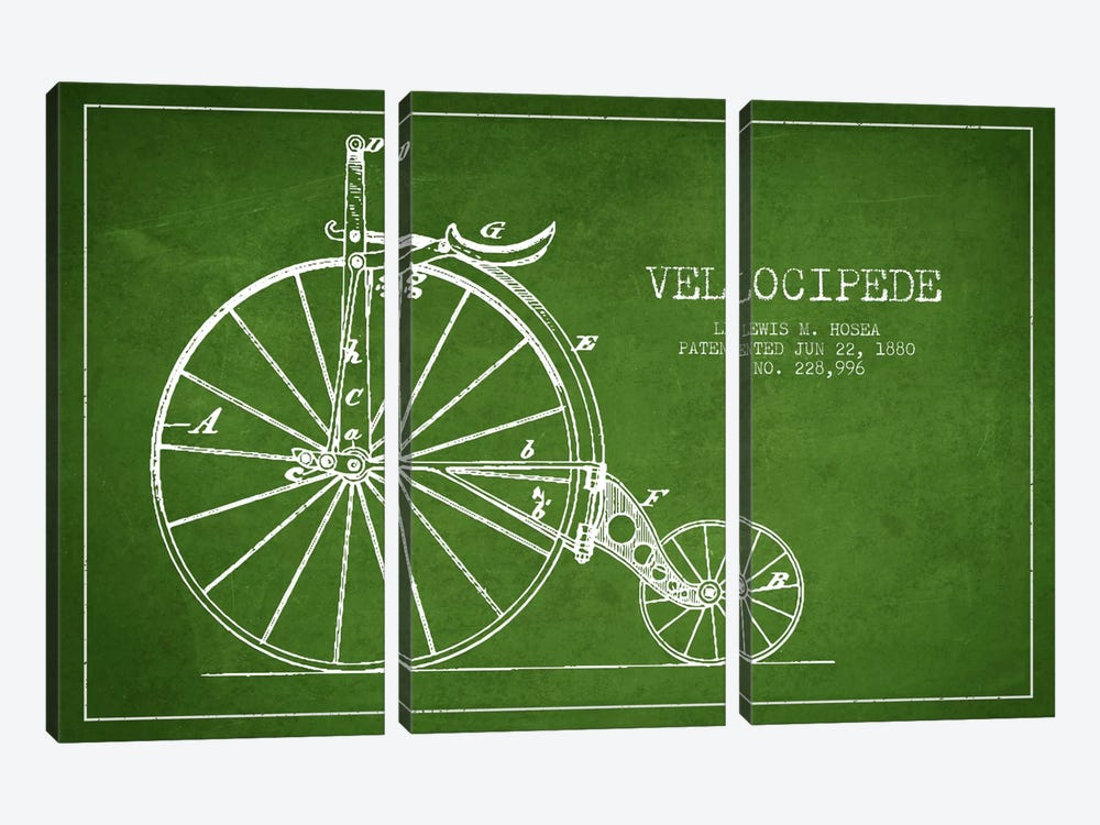 Hosea Velocipede Green Patent Blueprint by Aged Pixel 3-piece Canvas Art