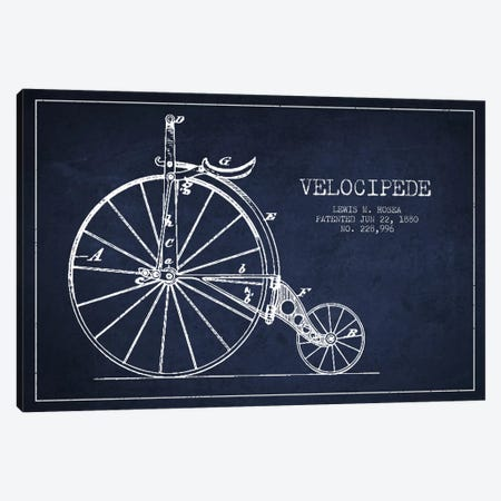 Hosea Velocipede Navy Blue Patent Blueprint Canvas Print #ADP2572} by Aged Pixel Canvas Art