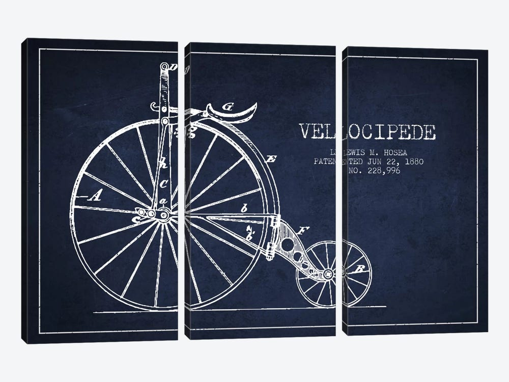 Hosea Velocipede Navy Blue Patent Blueprint by Aged Pixel 3-piece Canvas Print