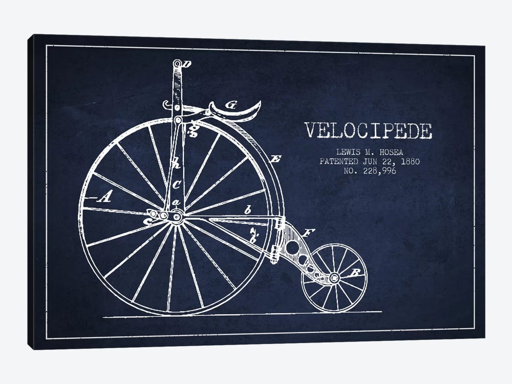 Hosea Velocipede Navy Blue Patent Blueprint by Aged Pixel 1-piece Canvas Print