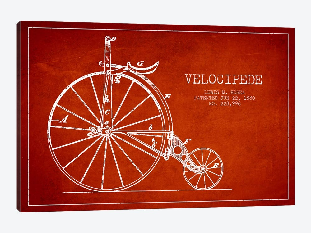 Hosea Velocipede Red Patent Blueprint by Aged Pixel 1-piece Canvas Wall Art
