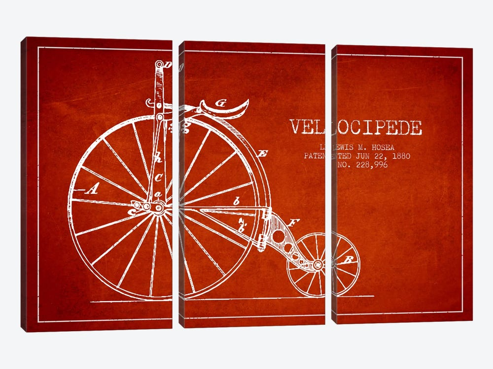 Hosea Velocipede Red Patent Blueprint by Aged Pixel 3-piece Canvas Art