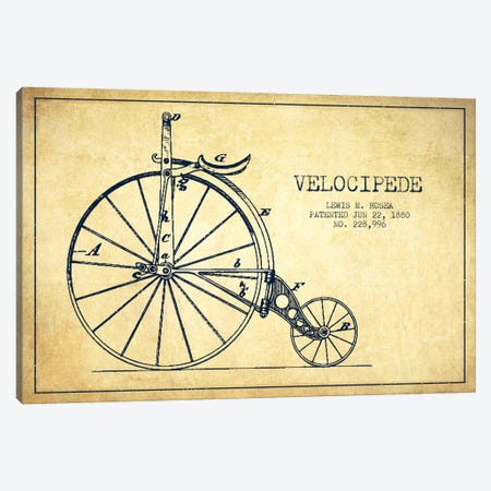 Hosea Velocipede Vintage Patent Blueprint Canvas Print #ADP2574} by Aged Pixel Canvas Print
