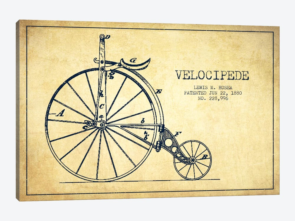 Hosea Velocipede Vintage Patent Blueprint by Aged Pixel 1-piece Canvas Print