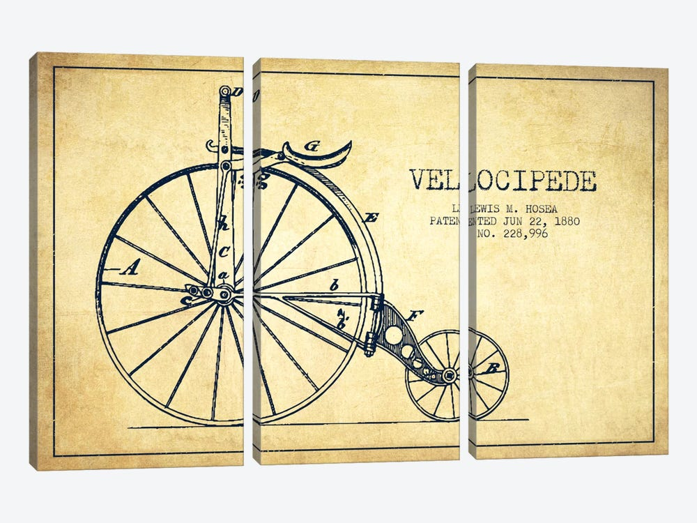 Hosea Velocipede Vintage Patent Blueprint by Aged Pixel 3-piece Canvas Art Print