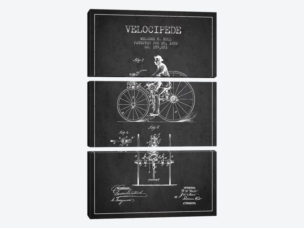Hull Velocipede Charcoal Patent Blueprint by Aged Pixel 3-piece Canvas Wall Art