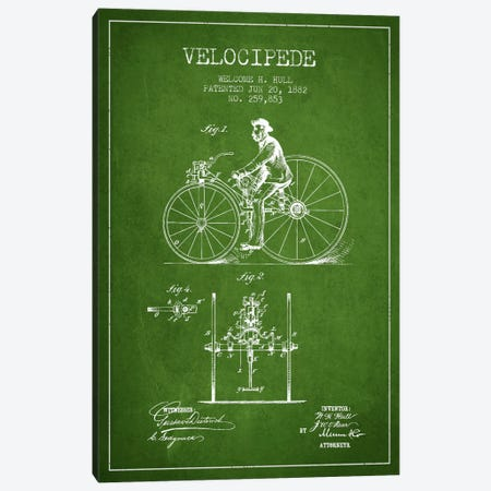 Hull Velocipede Green Patent Blueprint Canvas Print #ADP2576} by Aged Pixel Canvas Print