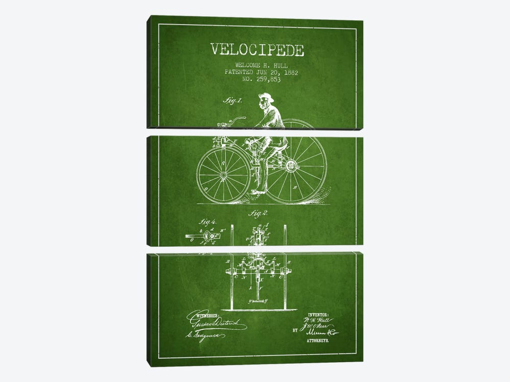 Hull Velocipede Green Patent Blueprint by Aged Pixel 3-piece Canvas Art Print