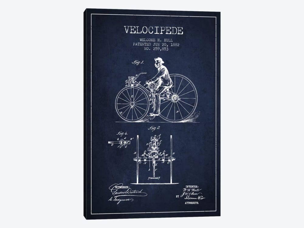 Hull Velocipede Navy Blue Patent Blueprint by Aged Pixel 1-piece Canvas Wall Art