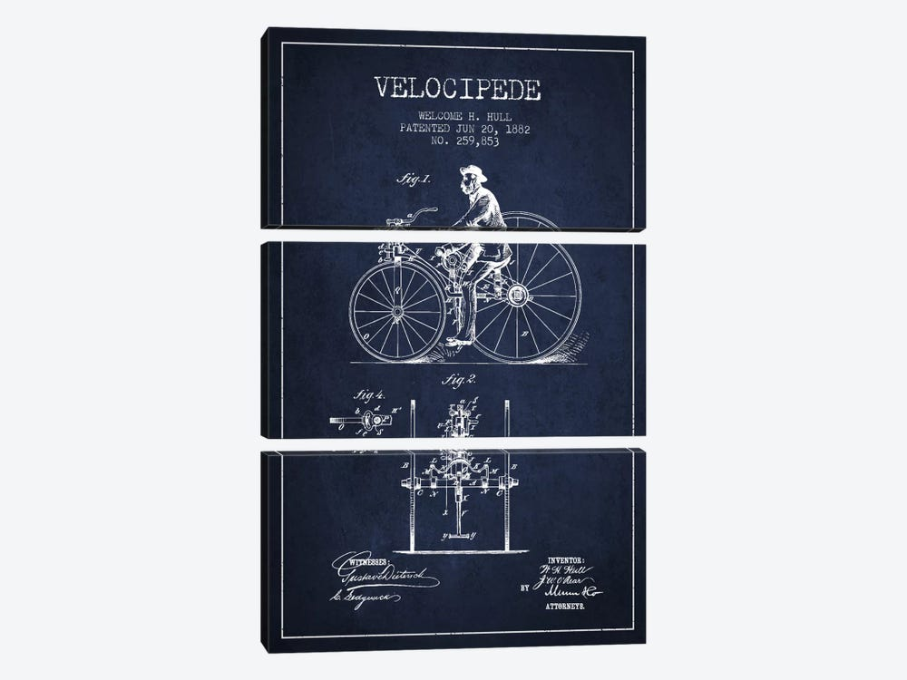 Hull Velocipede Navy Blue Patent Blueprint by Aged Pixel 3-piece Canvas Artwork