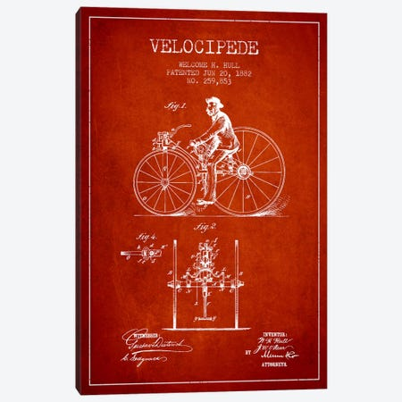 Hull Velocipede Red Patent Blueprint Canvas Print #ADP2578} by Aged Pixel Canvas Art
