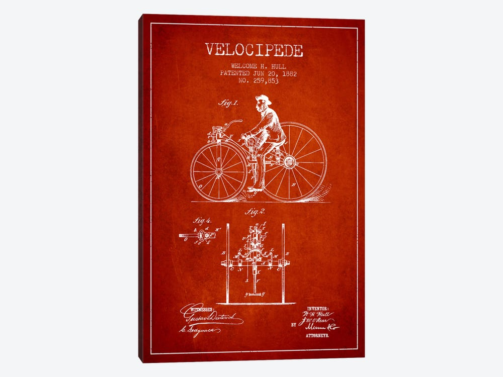 Hull Velocipede Red Patent Blueprint by Aged Pixel 1-piece Canvas Art Print
