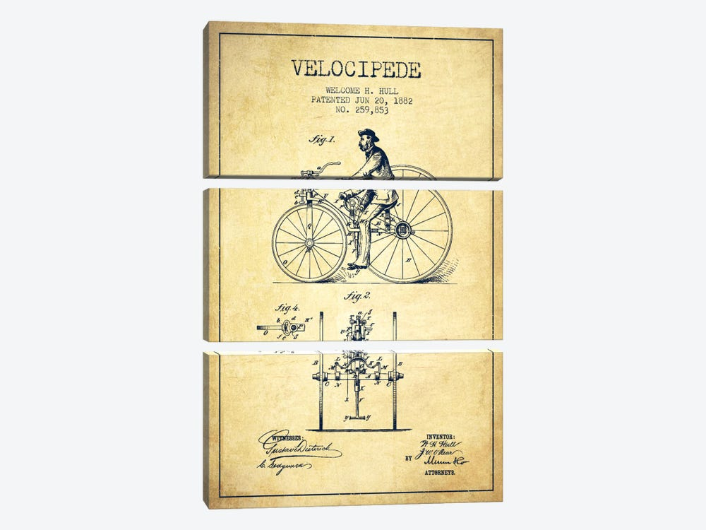 Hull Velocipede Vintage Patent Blueprint by Aged Pixel 3-piece Canvas Artwork