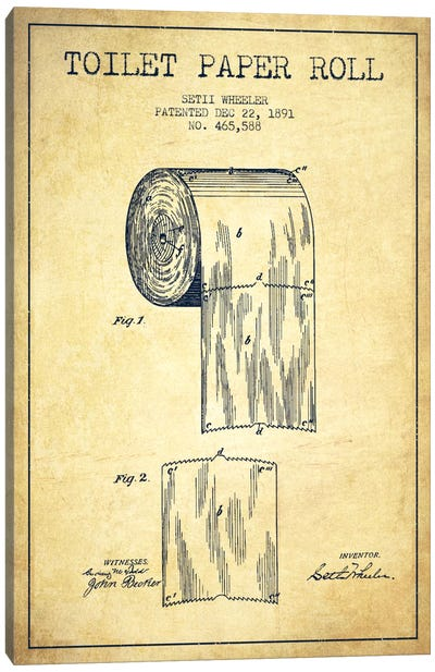 Toilet Paper Vintage Patent Blueprint Canvas Art Print