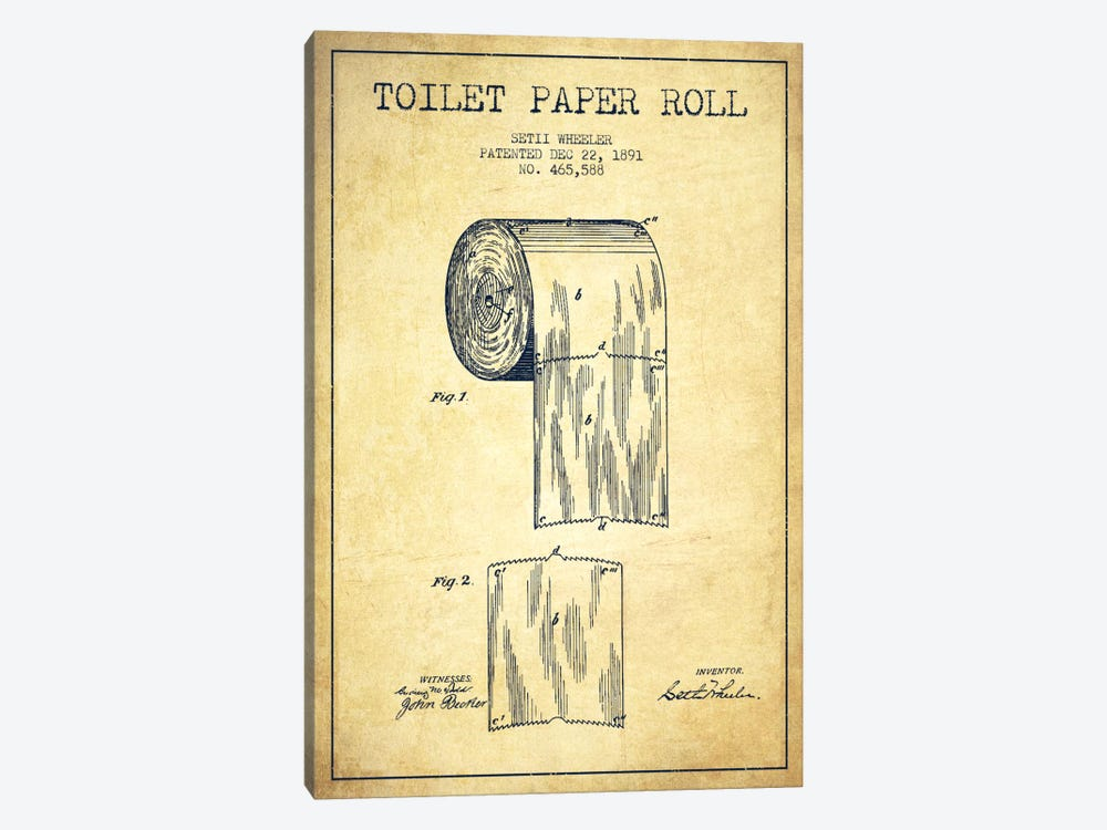 Toilet Paper Vintage Patent Blueprint by Aged Pixel 1-piece Canvas Wall Art
