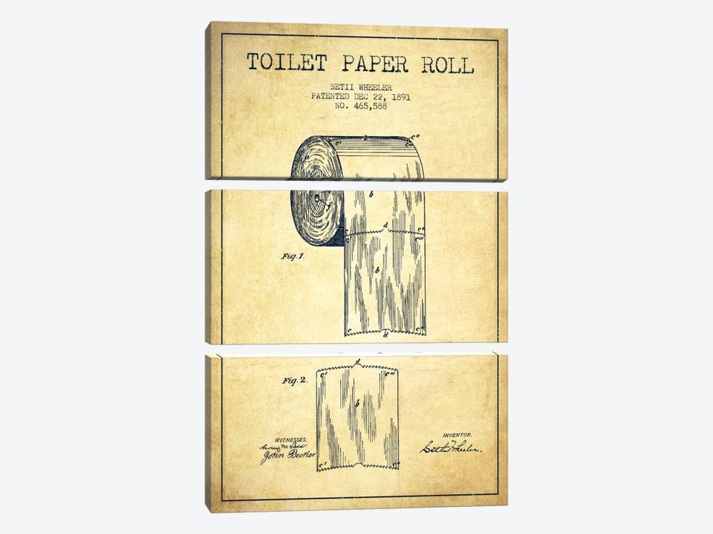 Toilet Paper Vintage Patent Blueprint by Aged Pixel 3-piece Canvas Art