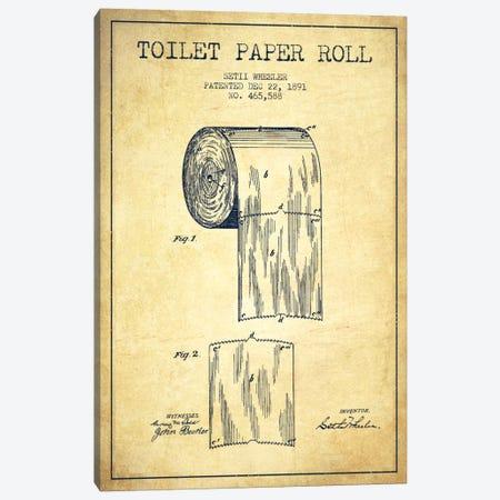 Toilet Paper Vintage Patent Blueprint Canvas Print #ADP257} by Aged Pixel Canvas Art Print