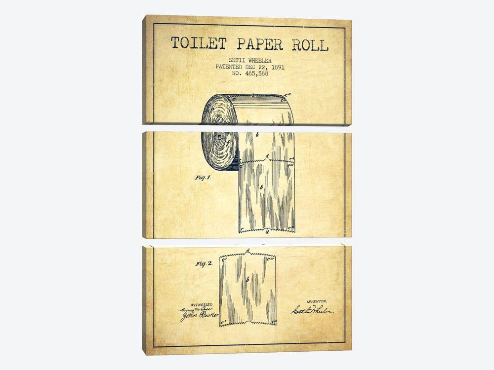 Toilet Paper Vintage Patent Blueprint by Aged Pixel 3-piece Canvas Art